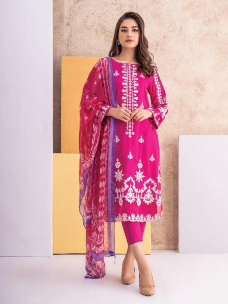 Edenrobe singhaar collection EWU21V2-21125 - Bright Pink - 3 Piece
