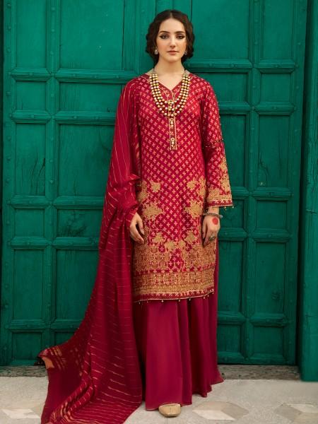 Edenrobe singhaar collection EWU21V6-21131 - Maroon - 3 Piece