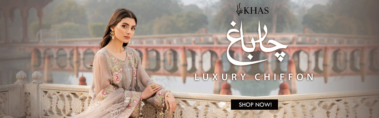 Khas Charbagh 3 Piece Unstitched Embroidered Chiffon