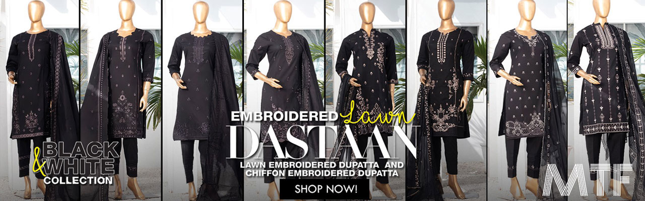 MTF DASTAAN BLACK & WHITE EMBROIDERED LAWN COLLECTION21