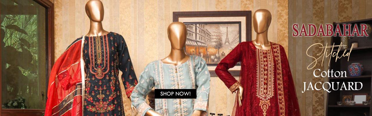 SADABAHAR Stitched Cotton Jacquard Kurtis Collection